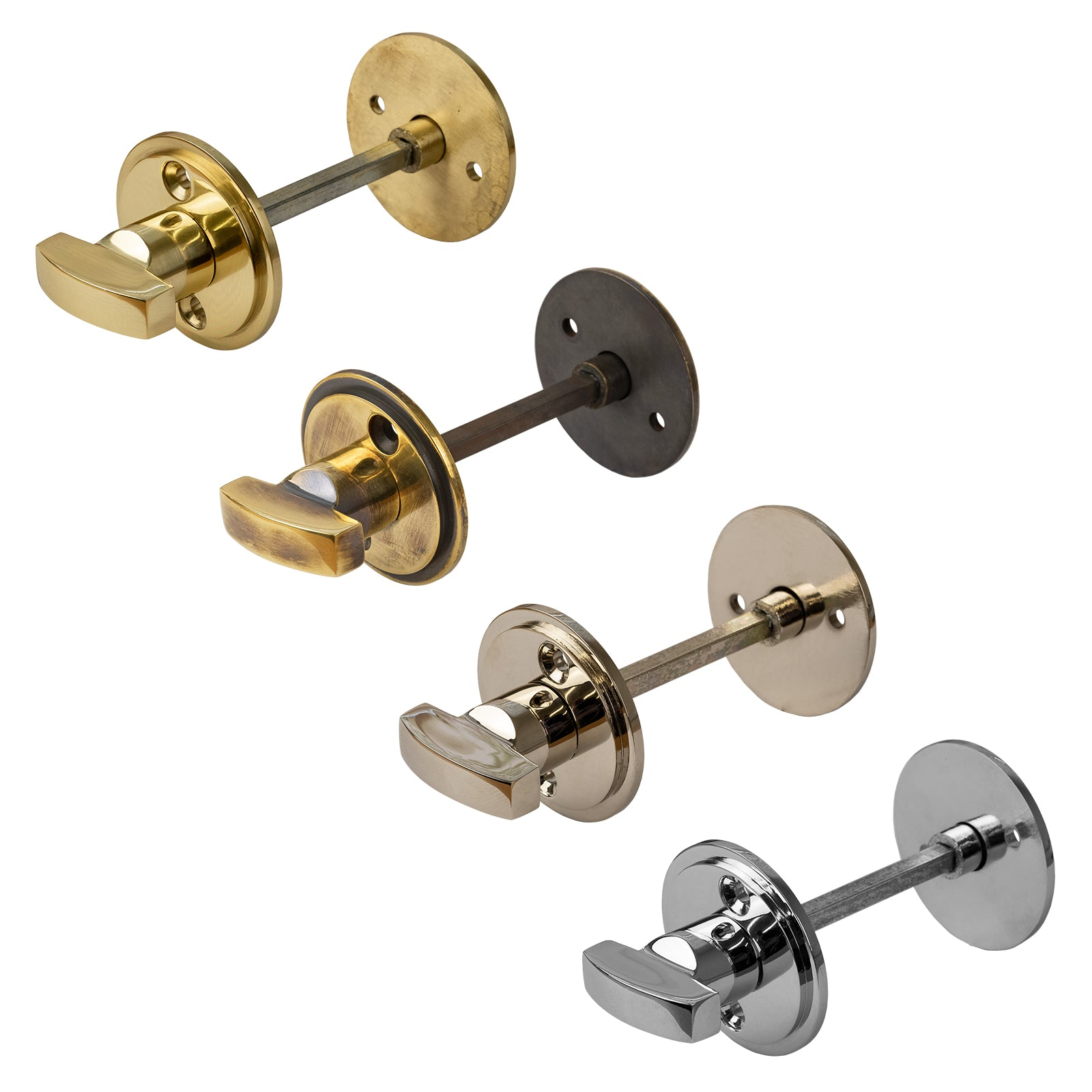 Heavy Duty Bathroom Turn & Release Brass, Antique, Nickel & Chrome