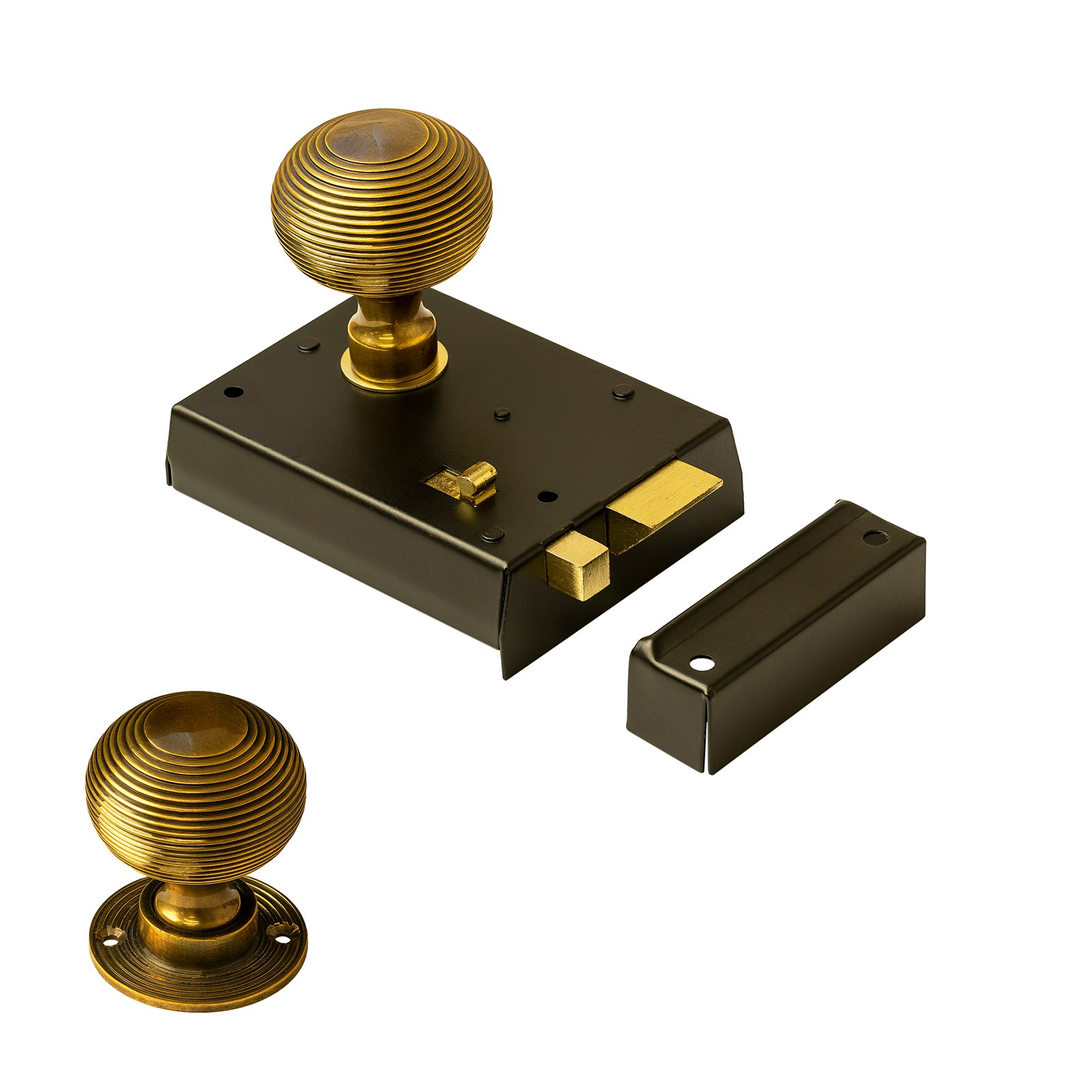 Bathroom rim lock with antique brass beehive door knob SHOW