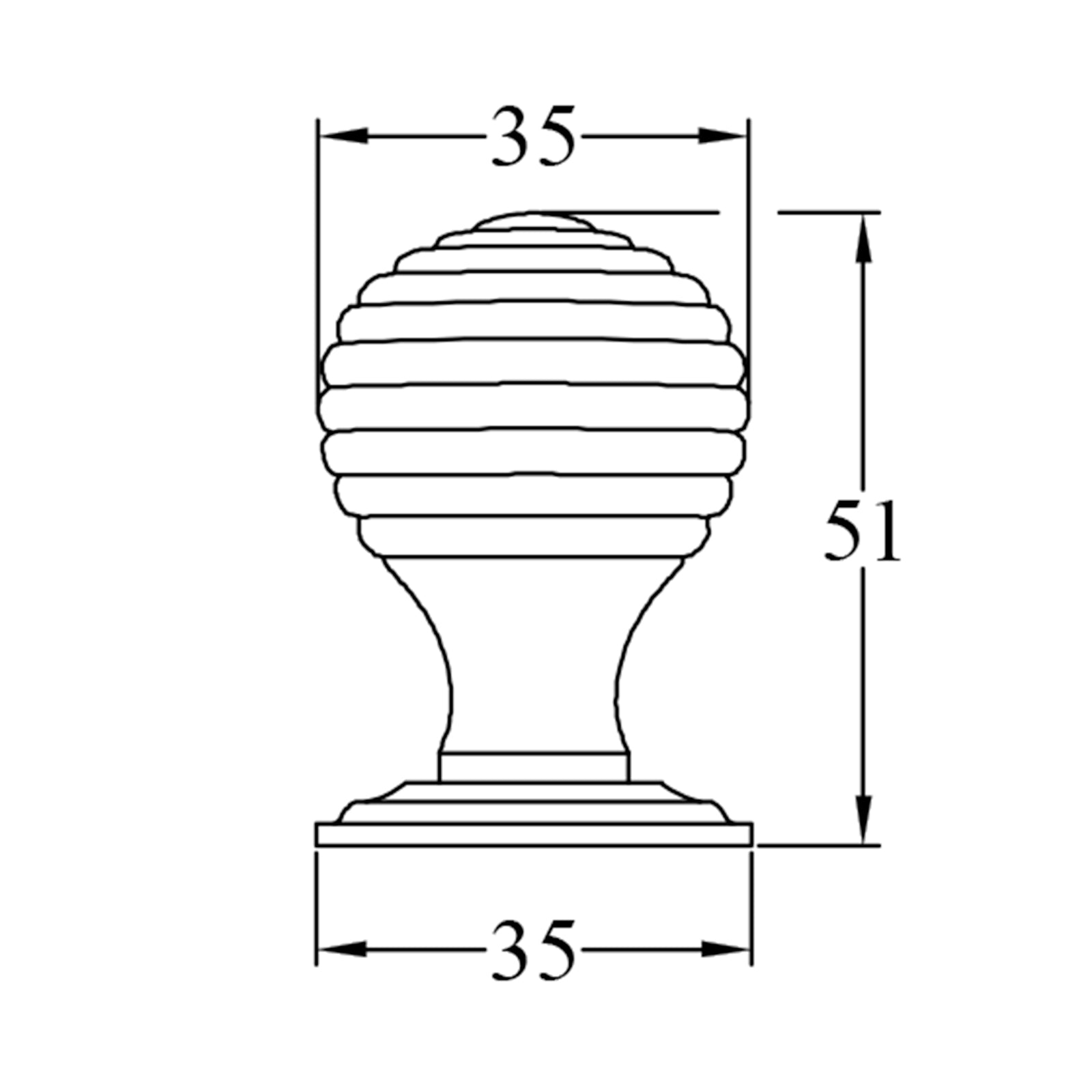 Basic Dimension Drawing of Small Beehive Cabinet Knob SHOW