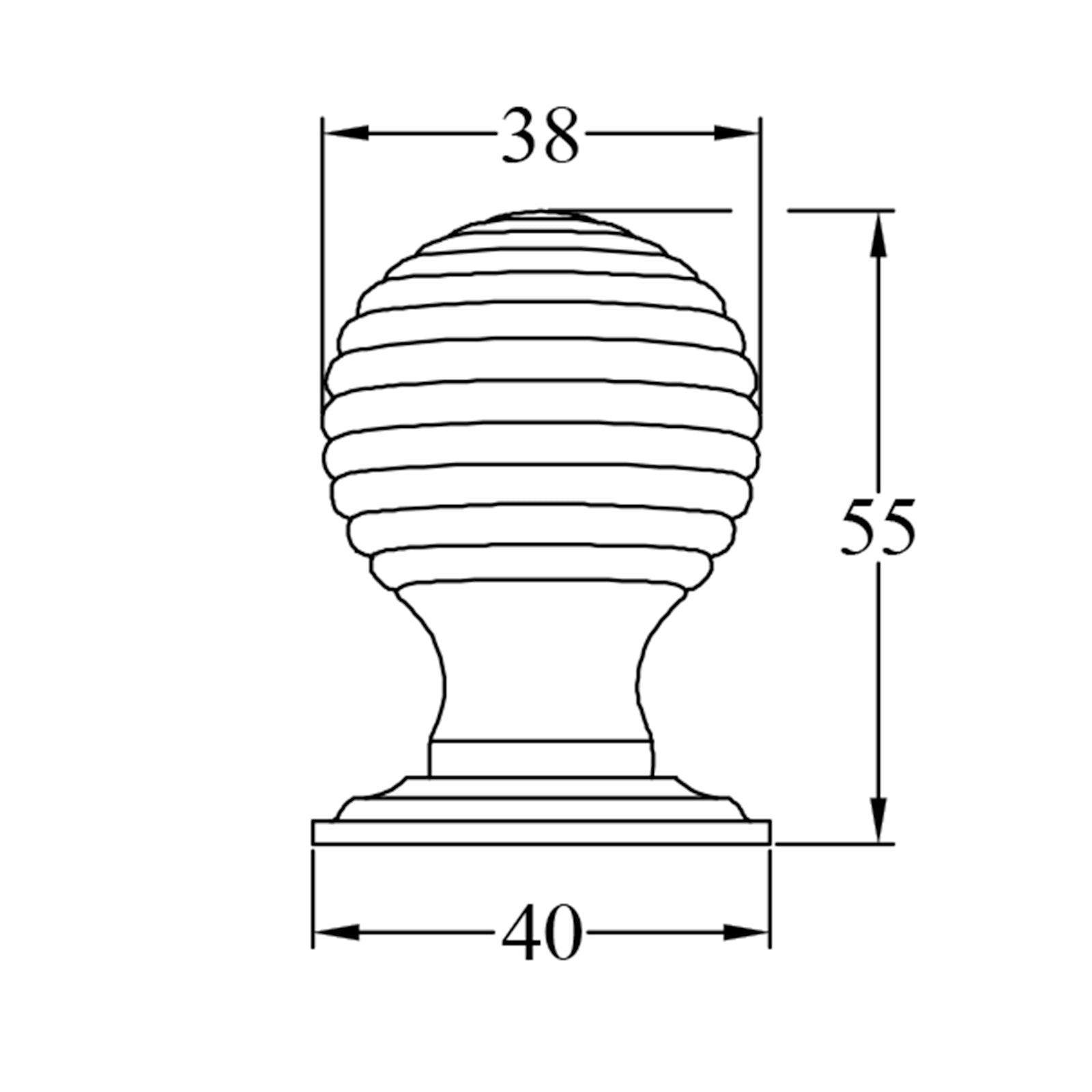 Basic Dimension Drawing of Large Beehive Cabinet Knob SHOW