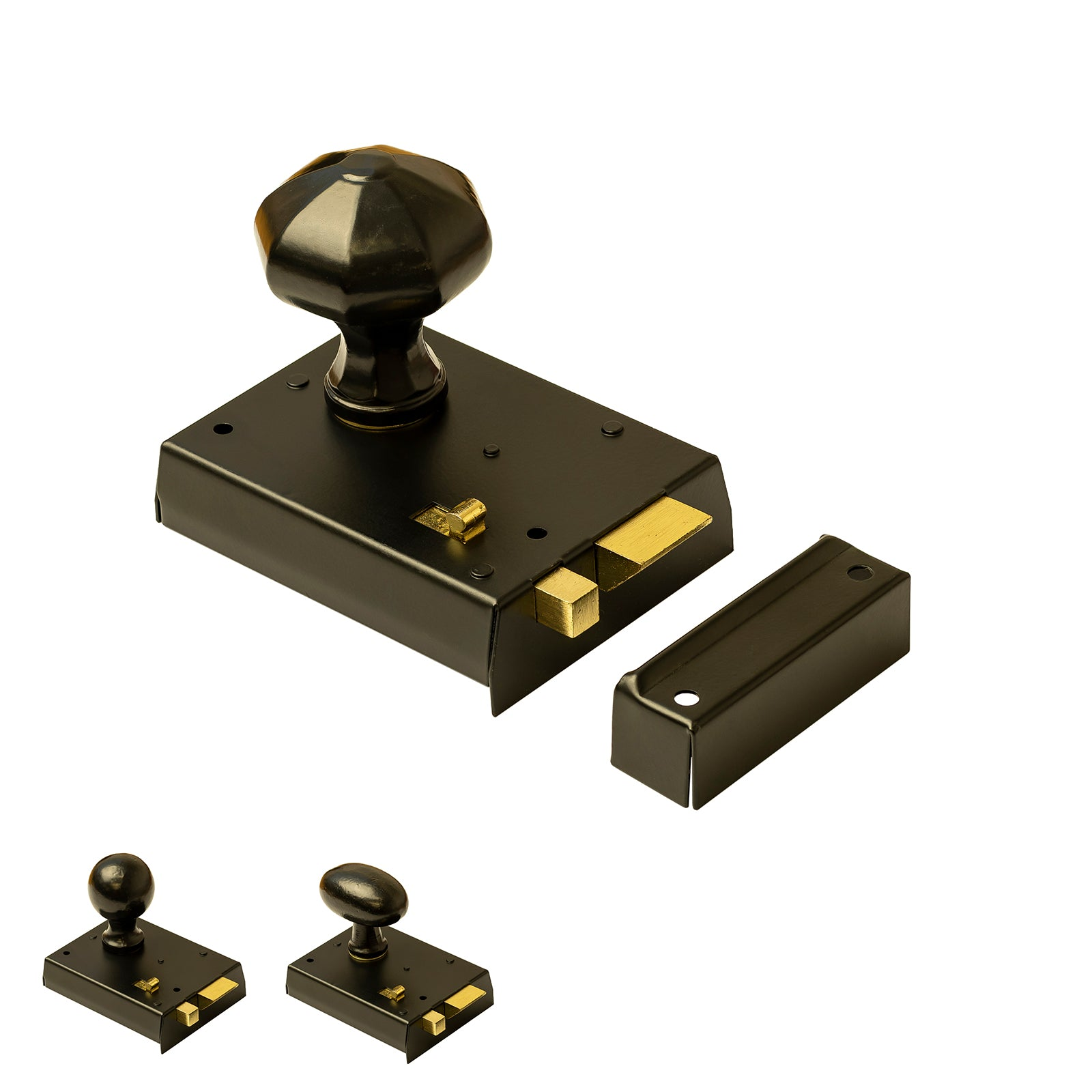 Bathroom Rim Lock with Snib Black Cast Iron Door Knob Set