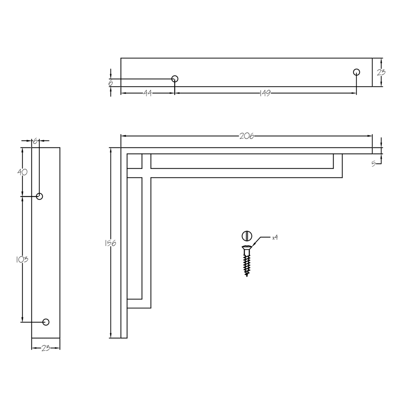 dimension drawing for art deco narrow shelf bracket SHOW