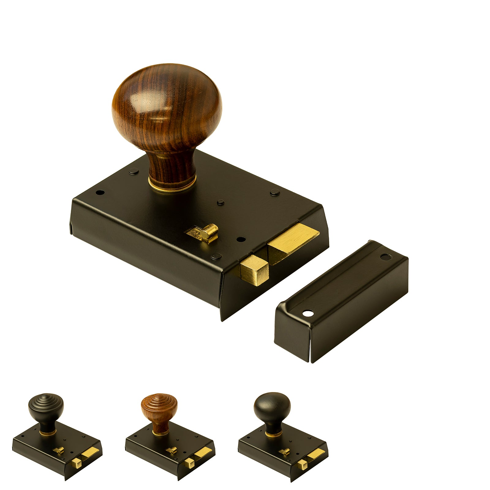 Bathroom rim locks with Rosewood door knobs