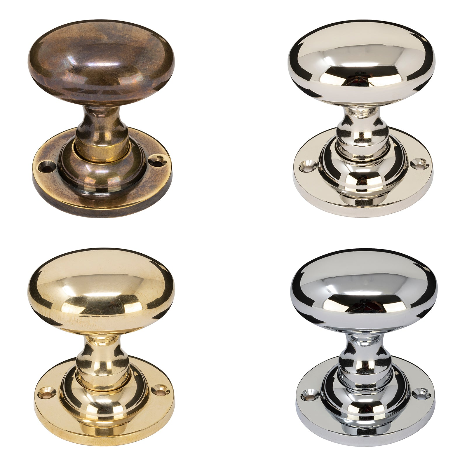Oval Brass Door Knobs in brass, bronze, chrome & nickel finishes