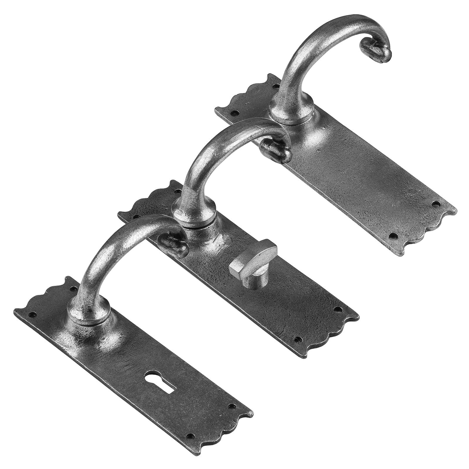Cottage lever latch lock and bathroom door handles