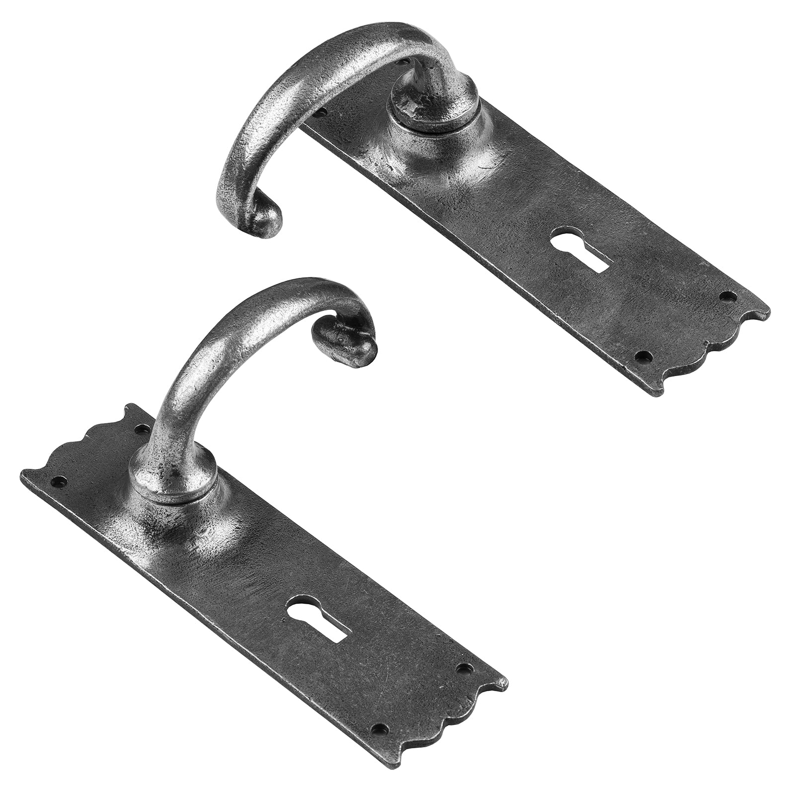 Cottage Lock Door Handle in pewter SHOW