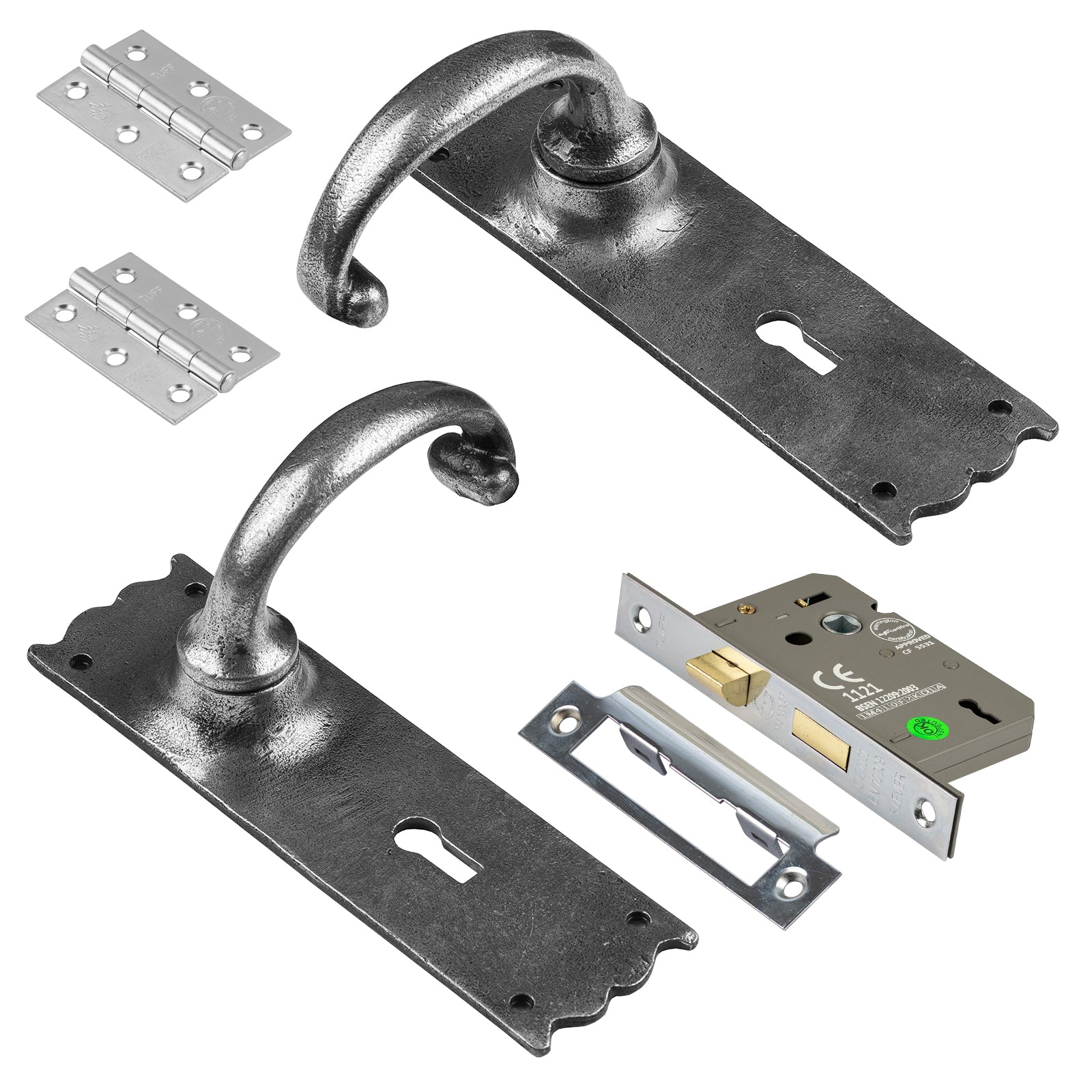 Cottage pewter door handle lock set SHOW