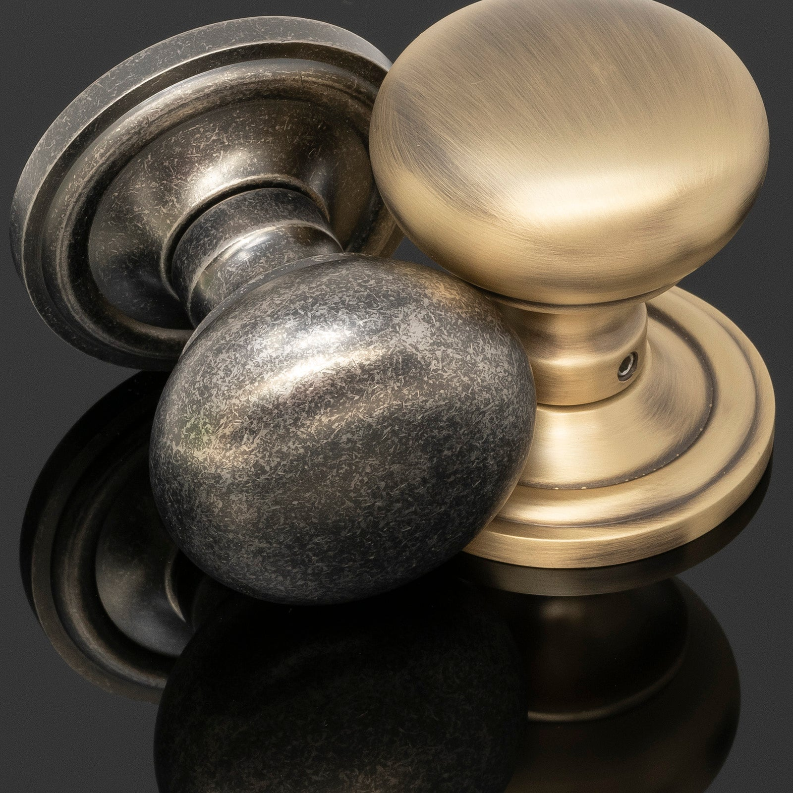 Solid Brass Mushroom Door Knobs Antique  Brass & Distressed Silver