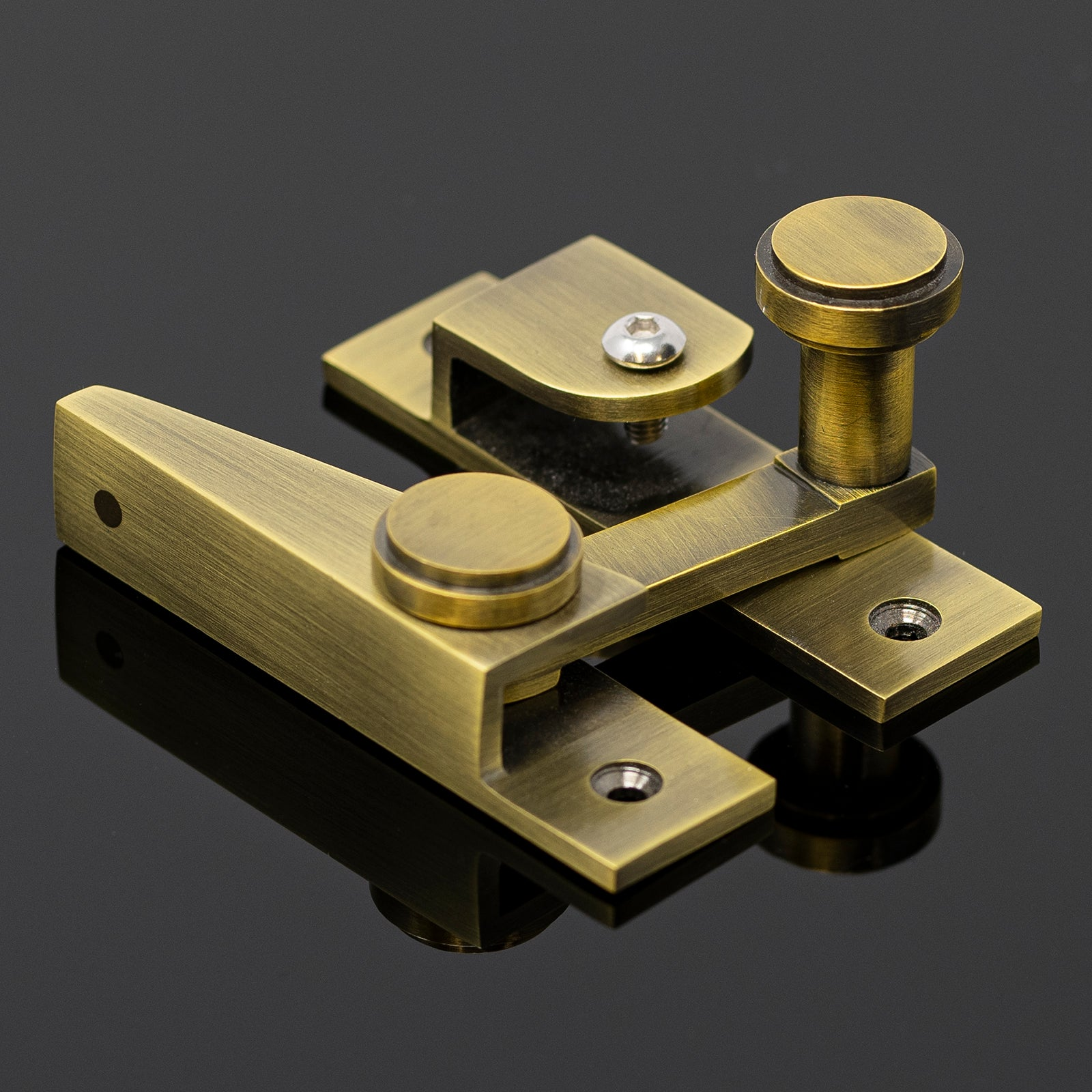 Hook & Plate Sash Window Fastener Finished in Antique Brass SHOW
