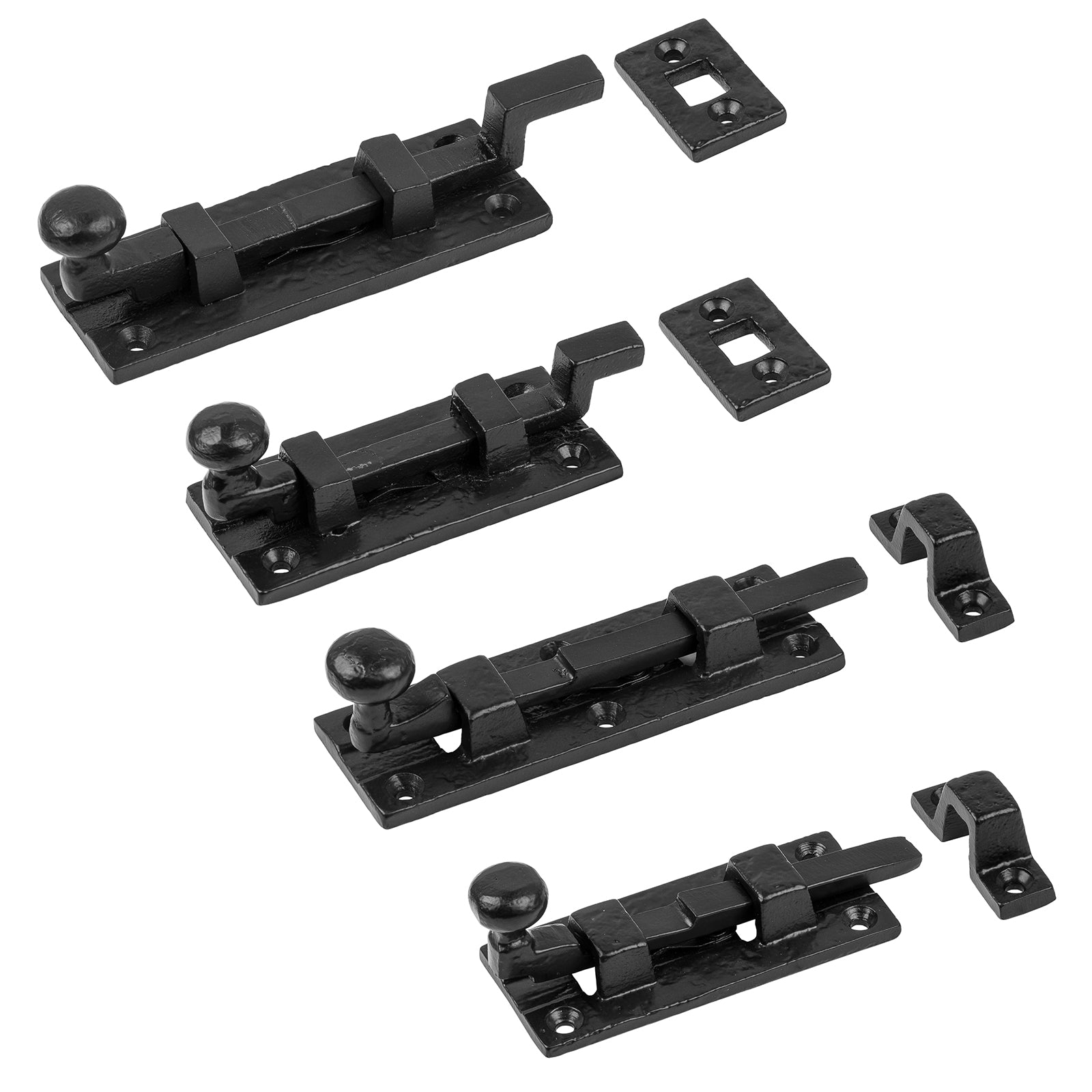 garden door latch, gate fasteners, Tudor Door Bolts | Black cast iron outdoor bolts
