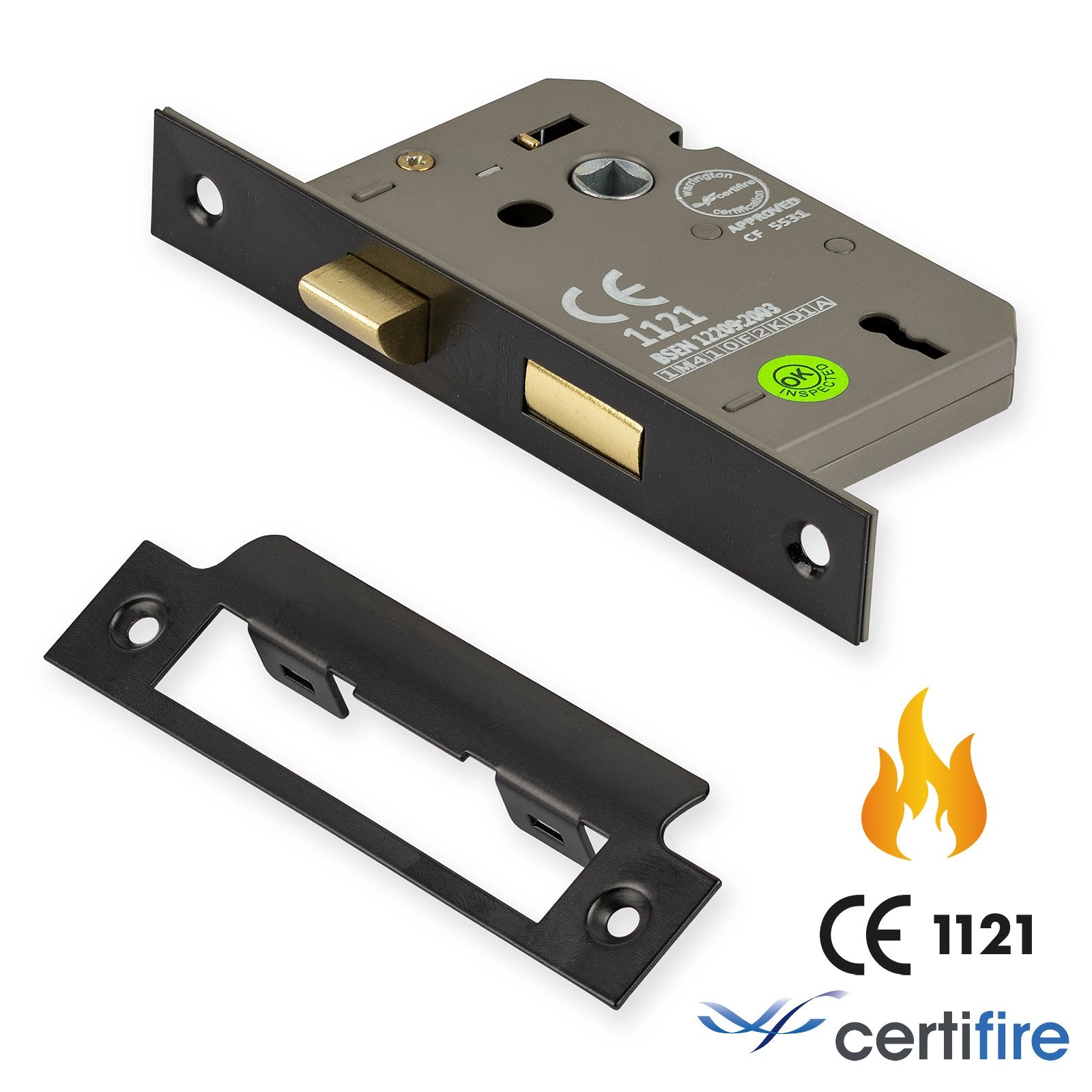 3 lever sash lock fire rated CE1211 | epoxy black | 44mm backset