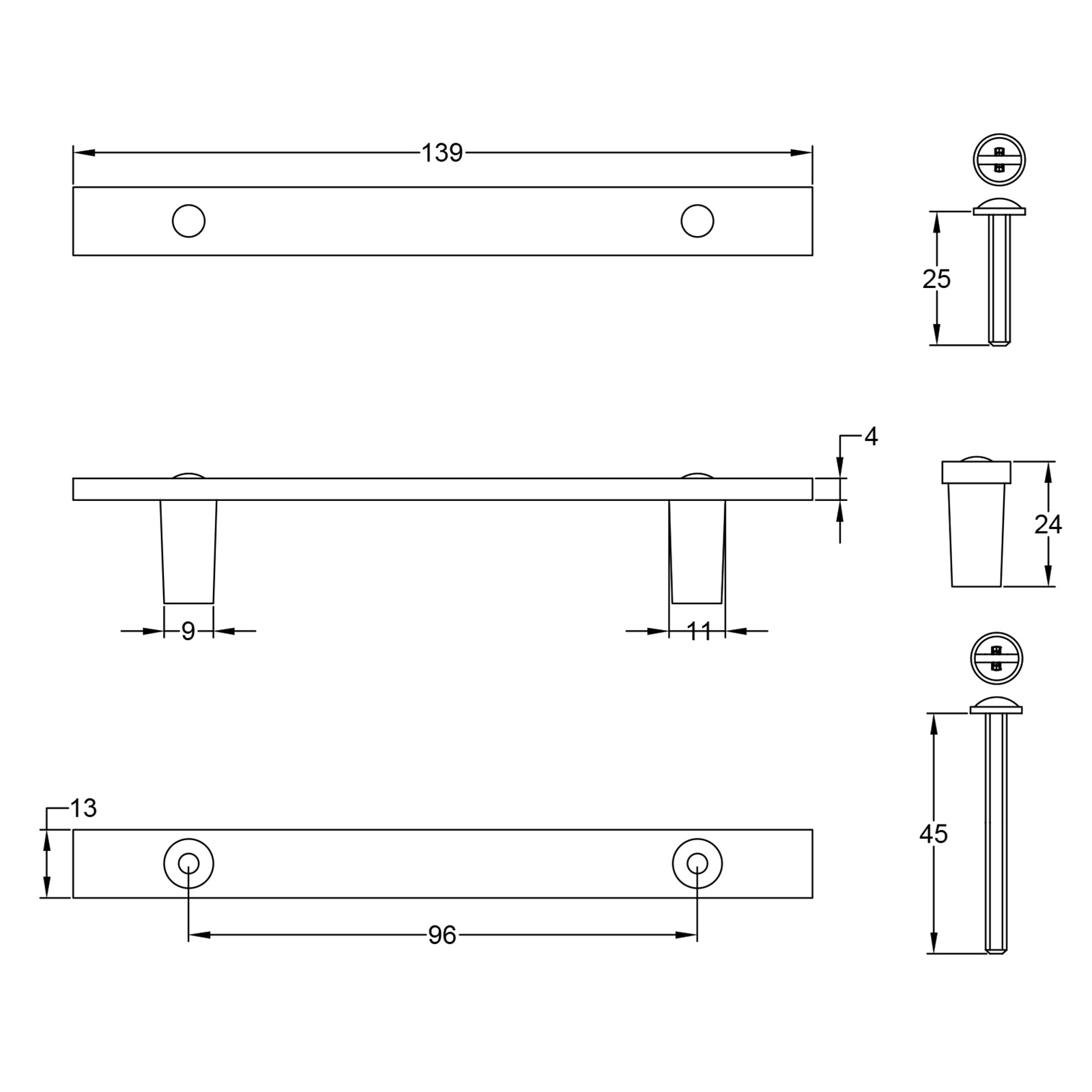Dimension drawing for T bar Handles SHOW