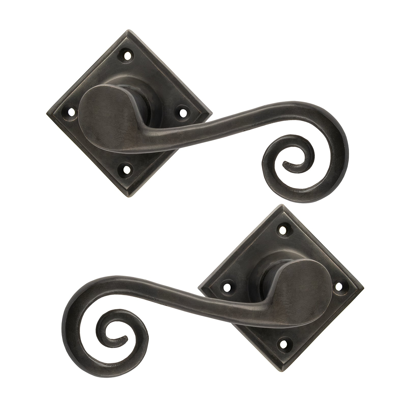 Monkey Tail Lever on Rose Bronze Door Handles