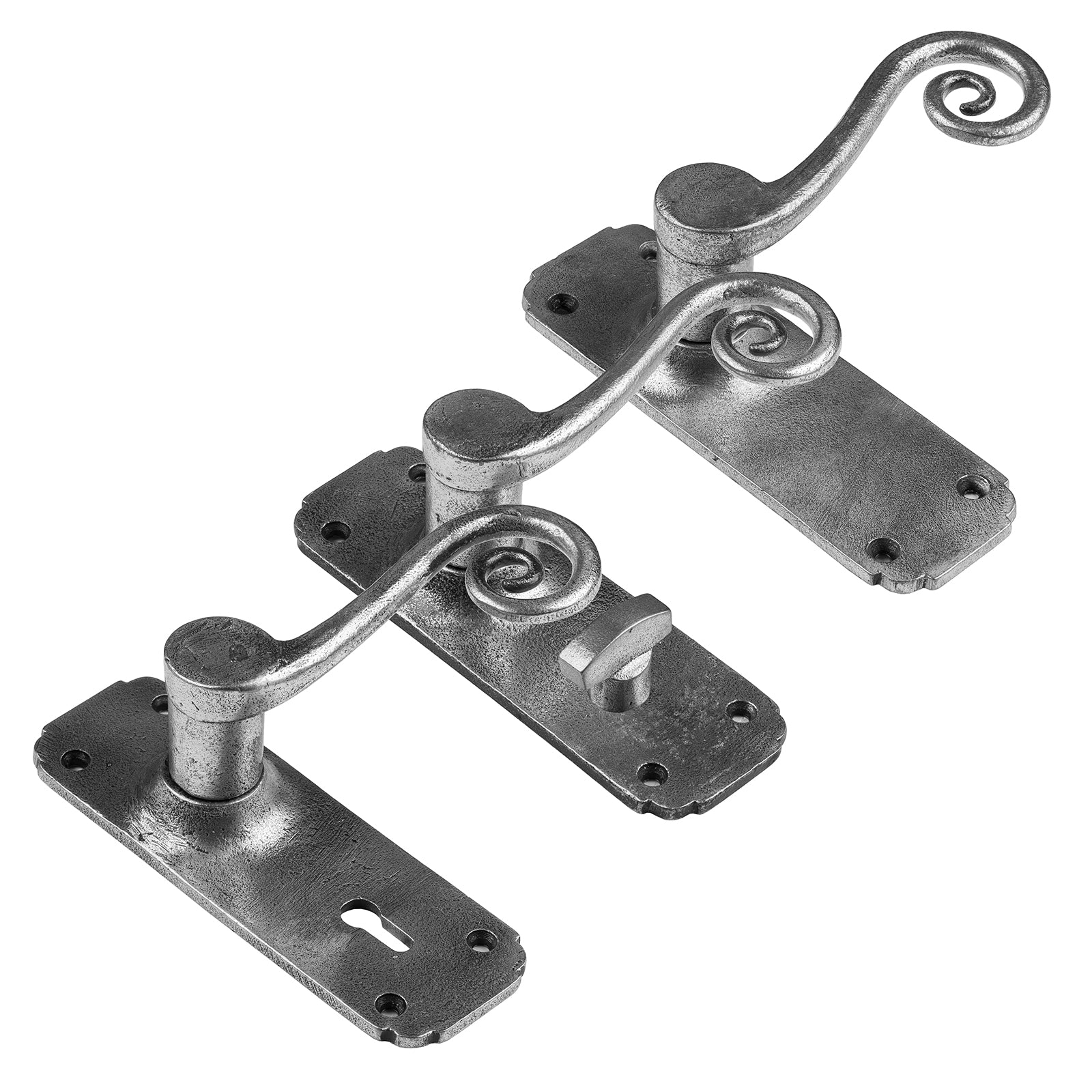 Monkey Tail Lever Handles in a pewter finish, pewter door knobs