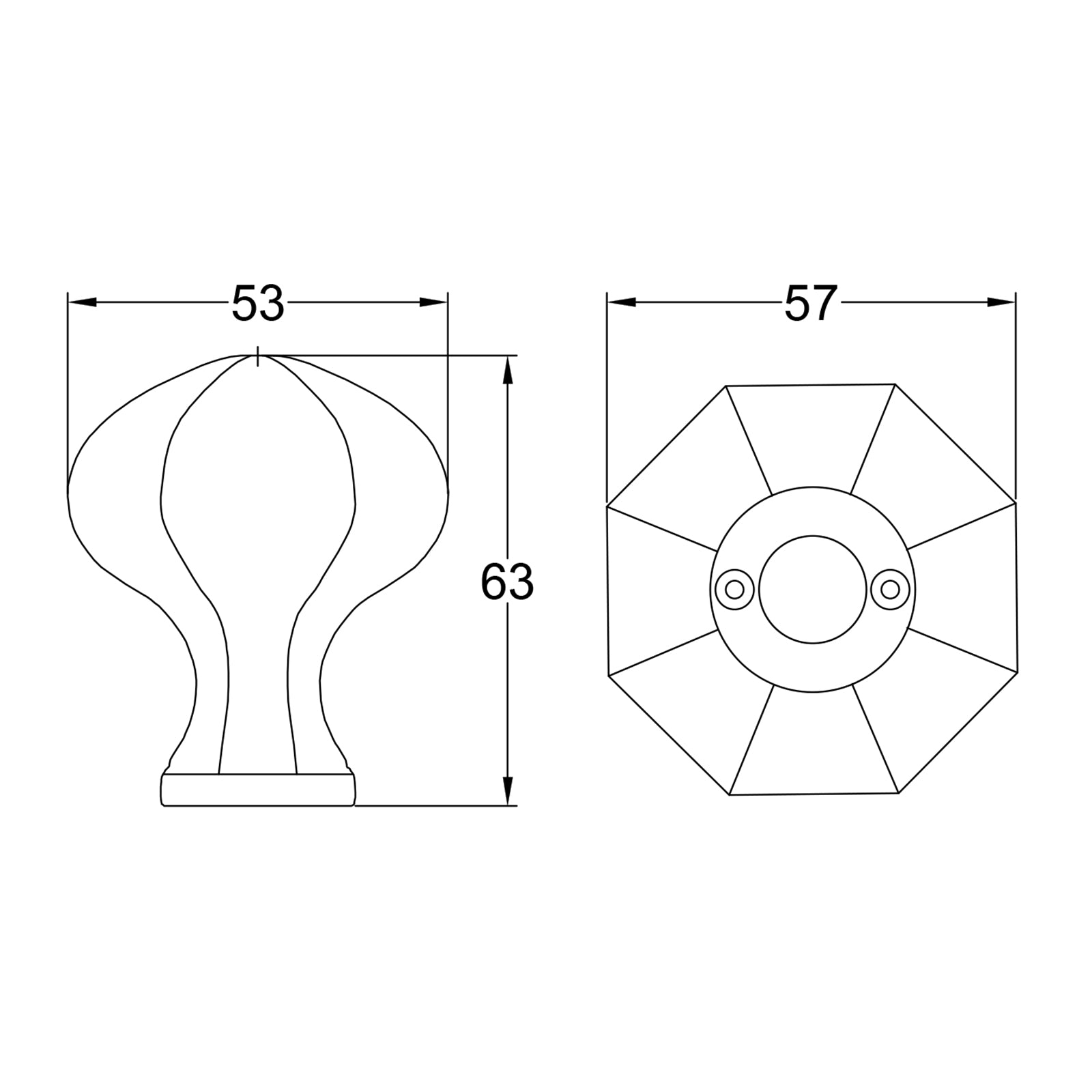 dimension drawing of octagonal door knob SHOW