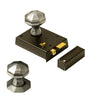 Bathroom rim lock with pewter octagonal door knob