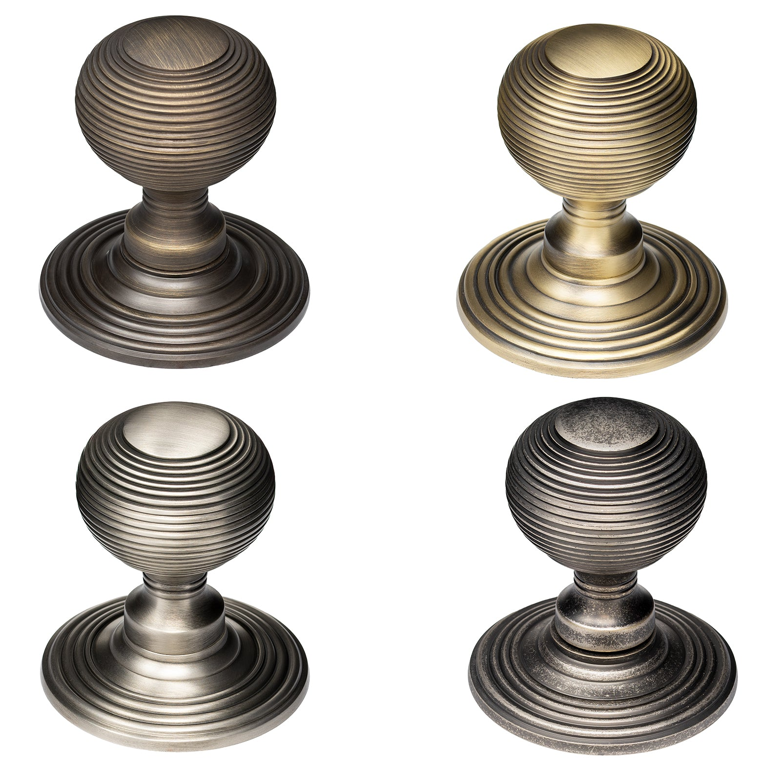 Solid Brass Reeded Door Knobs Old English Collection