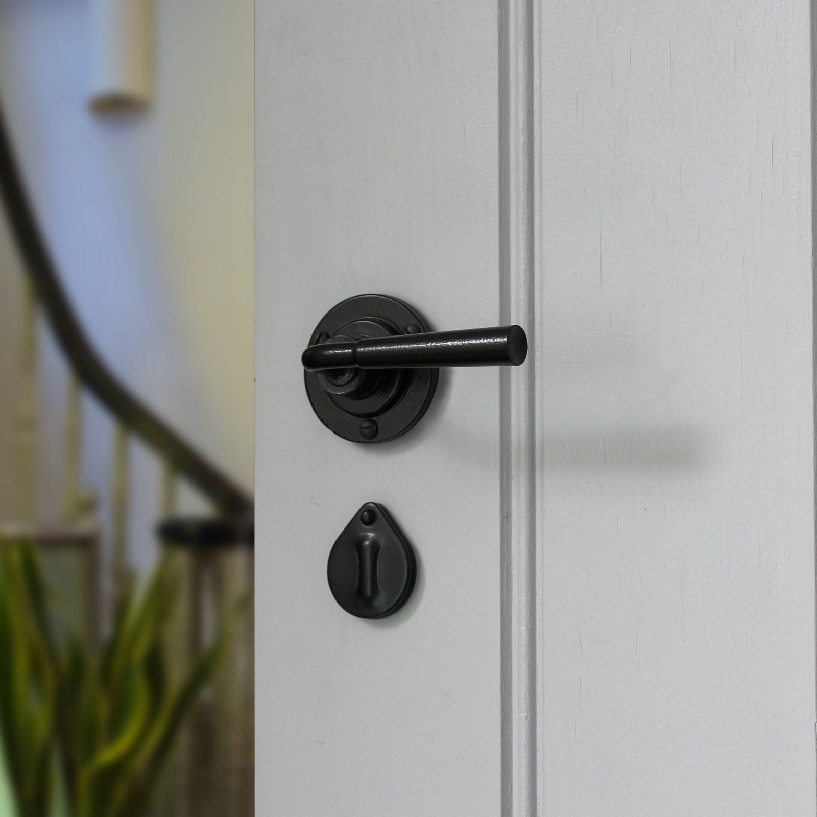 Lever on rose door handle with escutcheon SHOW