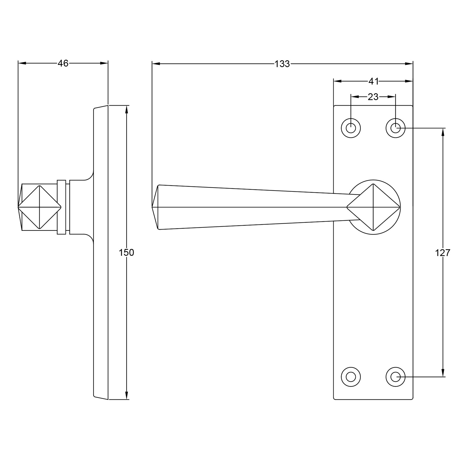 Straight lever door handle dimension drawing SHOW