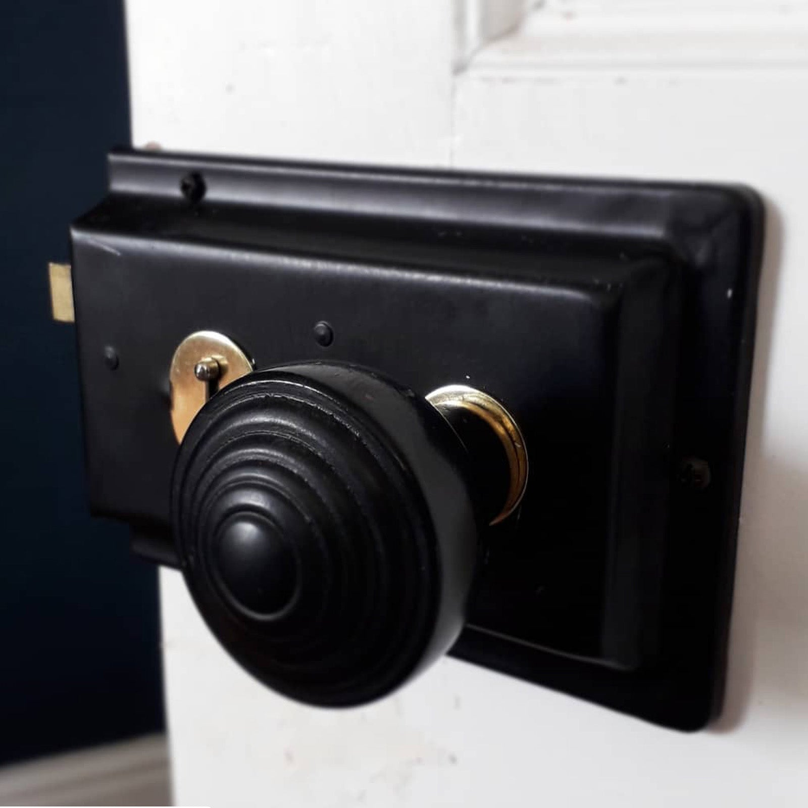 Door with rim lock and ebonised ringed door knob SHOW