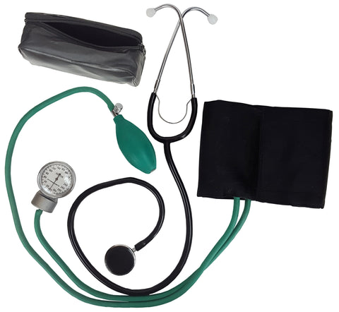 An aneroid sphygmomanometer, a stethoscope, extra ear buds, an extra diaphragm, and a carrying case