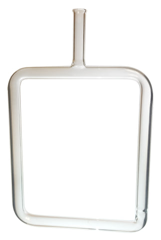 Rectangular glass tube with an outlet arm at the top