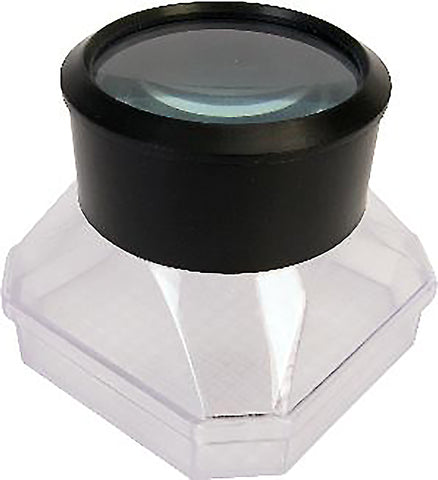 Magnifying bug viewer, showing lens and plastic grid