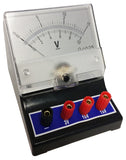 Voltmeter with a range of 0V to 3V, 0V to 10V, and 0V to 15V