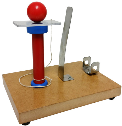 Ball and Card Inertia Apparatus showing a red ball balanced on a platform in front of a flat metal spring