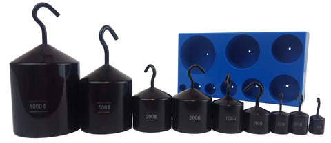 Powder-coated hooked weight set displayed in front of the blue storage case