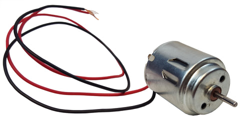 A small, silver-colored DC motor with a red and a black cord coming out of it
