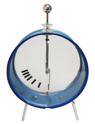 Electroscope in a circular housing with a free-spinning indicator gauge