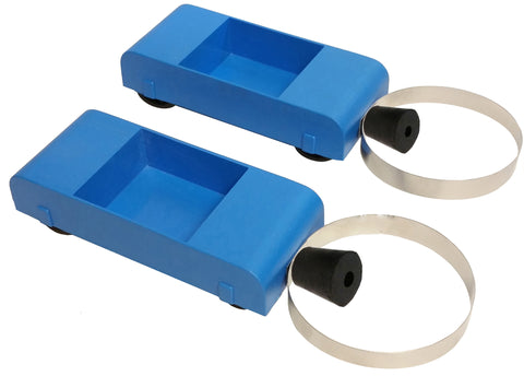 Two blue dynamics carts with circular metal bumpers