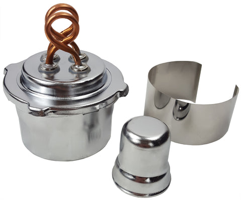 Dual-wick alcohol burner showing the alcohol burner, a cap, and a wind shield