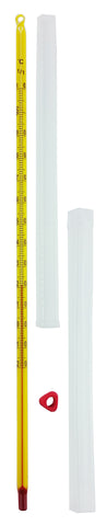 Yellow-backed thermometer with a case and a thermometer sleeve Partial Immersion -20°C to 110°C