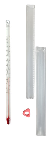 Compact White-backed thermometer with a case and a thermometer sleeve