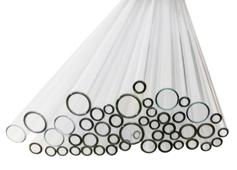 Flint Glass Tubing, Assorted Set of 24 in. Long Tubes