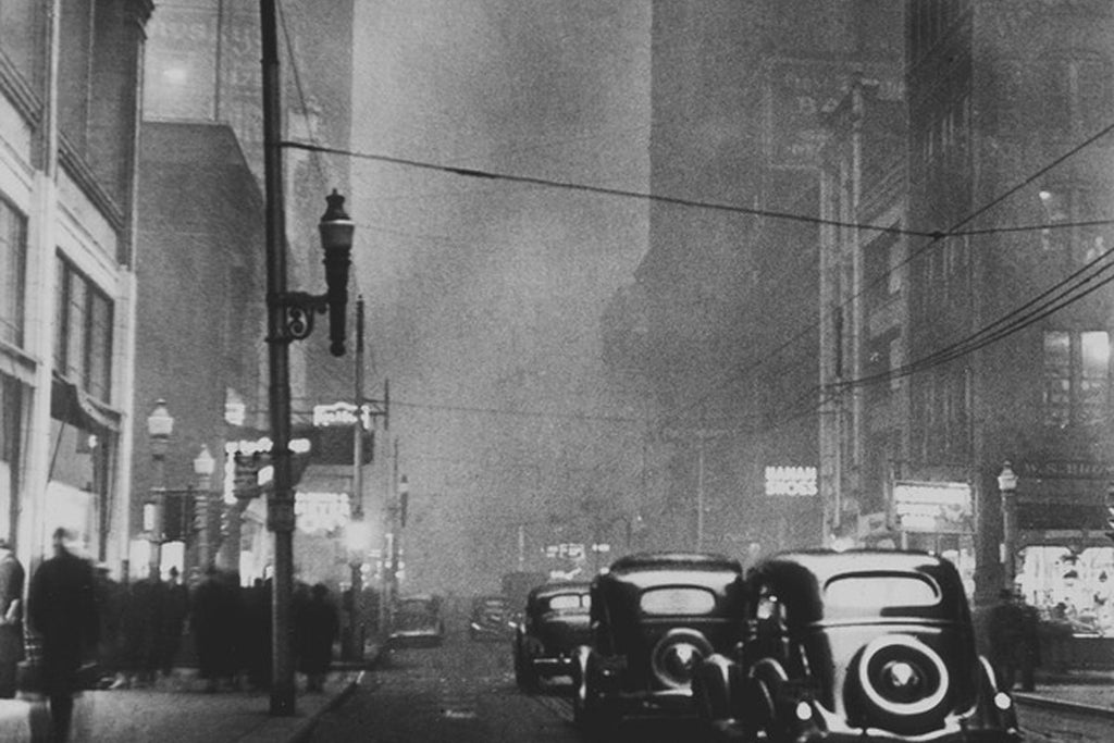 An image of smog in Pittsburgh, Pennsylvania in the 1940's