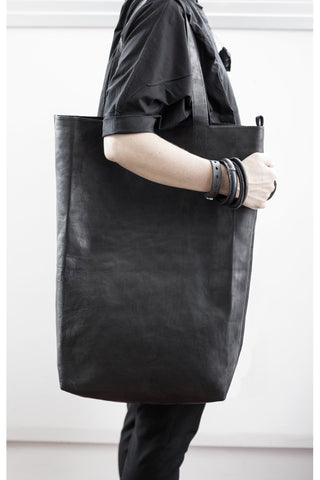 Shop emerging slow fashion accessory brand For Those Who Pray Black Leather XXL Tote - Erebus