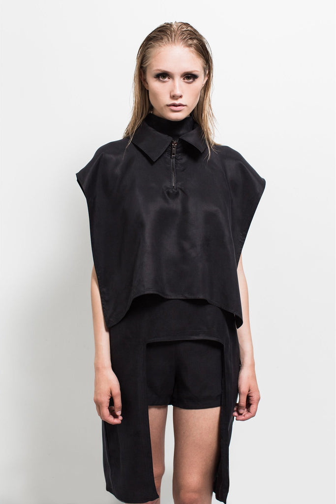Shop Emerging Contemporary Womenswear brand Too Damn Expensive Asymmetric Poncho at Erebus