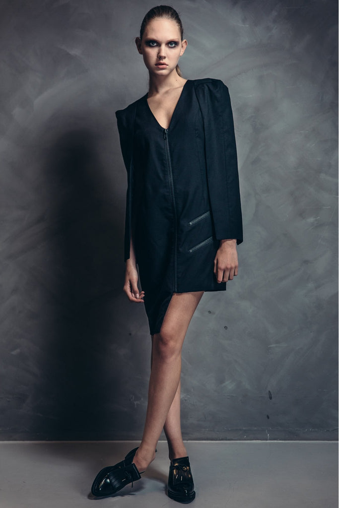 Shop Emerging Contemporary Womenswear brand Too Damn Expensive Jacket Dress at Erebus
