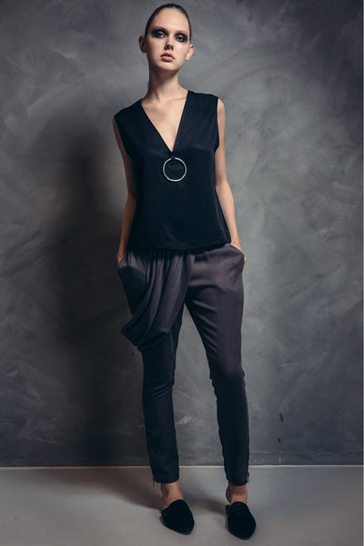 Shop Emerging Contemporary Womenswear brand Too Damn Expensive Drape Trousers at Erebus
