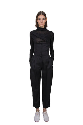 Shop Emerging Slow Fashion Genderless Brand Ludus Agender Brand Black Roll Neck Long Sleeve Folded Top at Erebus