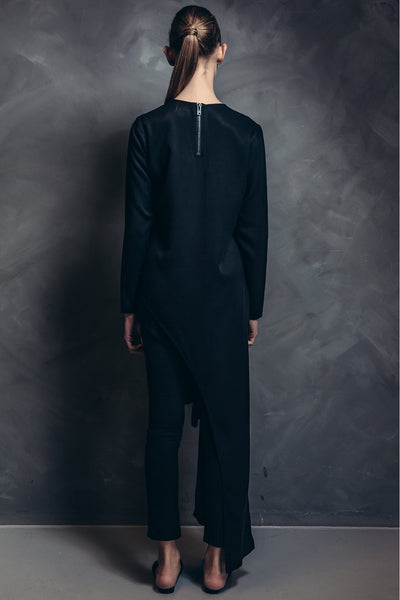 Shop Emerging Contemporary Womenswear brand Too Damn Expensive Black Asymmetric Long Top at Erebus
