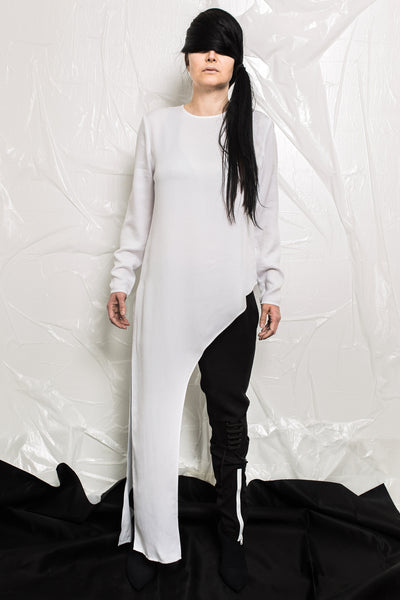 Shop Emerging Contemporary Womenswear brand Too Damn Expensive White Asymmetric Long Top at Erebus