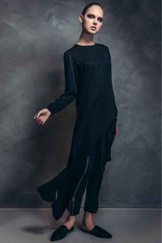 Shop Emerging Contemporary Womenswear brand Too Damn Expensive Asymmetric Long Top at Erebus