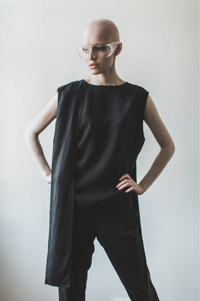 Shop Emerging Contemporary Womenswear brand Too Damn Expensive Sleeveless V Top at Erebus