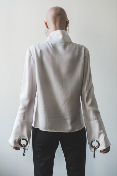 Shop Emerging Contemporary Womenswear brand Too Damn Expensive Asymmetric Zip Shirt Jacket at Erebus