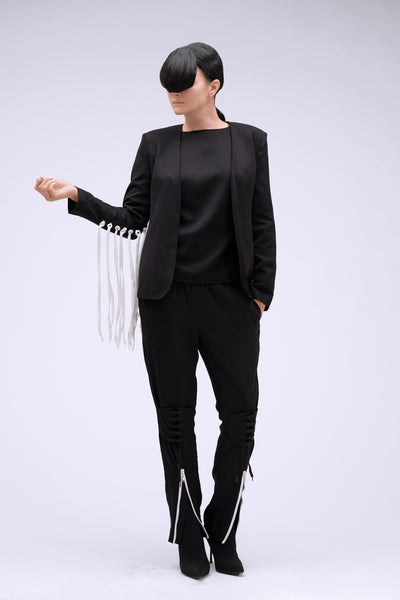 Shop Emerging Contemporary Womenswear brand Too Damn Expensive Black Fringe Jacket at Erebus