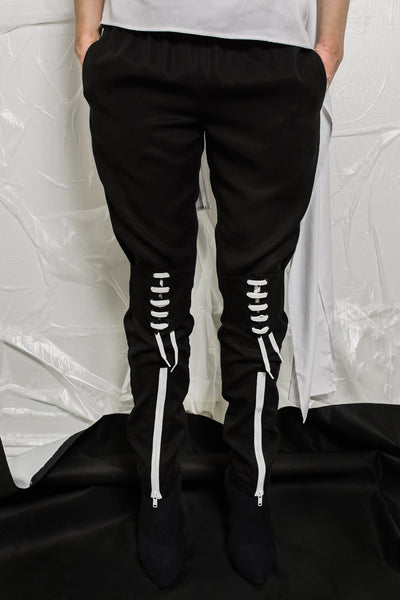 Shop Emerging Contemporary Womenswear brand Too Damn Expensive Black Lace-up Pants at Erebus